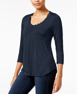 Maison Jules Three-Quarter-Sleeve Scoop-Neck T-Shirt, Only at Vogily