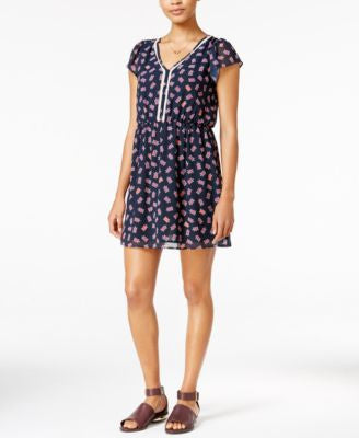Maison Jules Printed Crochet-Trim Fit & Flare Dress, Only at Vogily