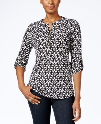 Charter Club Petite Printed Henley Top, Only at Vogily