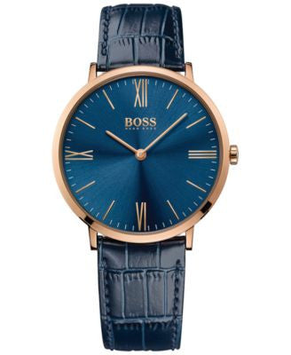 BOSS Hugo Boss Men's Jackson Blue Leather Strap Watch 40mm 1513371