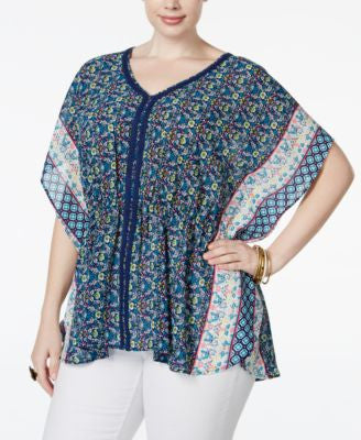 American Rag Trendy Plus Size Printed Poncho Top, Only at Vogily