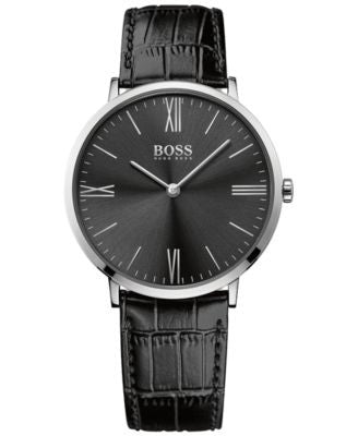 BOSS Hugo Boss Men's Jackson Black Leather Strap Watch 40mm 1513369