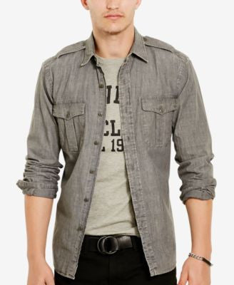 Polo Ralph Lauren Men's Long-Sleeve Chambray Military Shirt