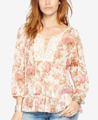 Denim & Supply Ralph Lauren Floral-Print Mesh Peasant Top