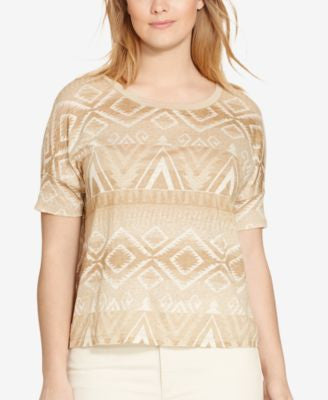Lauren Ralph Lauren Plus Size Patterned Jersey T-Shirt