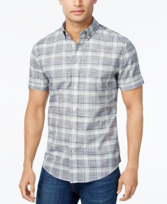 Tommy Hilfiger Men's Short-Sleeve Mackerin Plaid Shirt