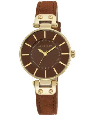 Anne Klein Women's Rust Suede Strap Watch 34mm AK-2218GPRU