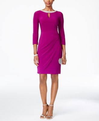 Alex Evenings Keyhole Faux-Wrap Dress