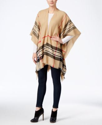 Charter Club Lightweight Border Plaid Poncho, Only at Vogily
