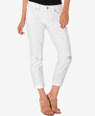 Silver Jeans Co. Ripped White Wash Cropped Jeans