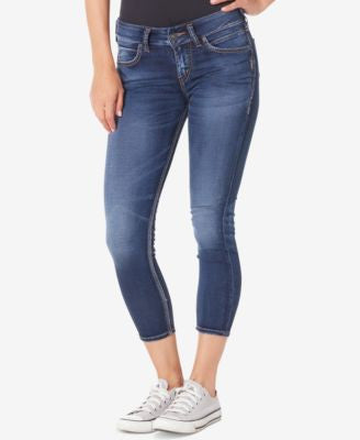 Silver Jeans Co. Cropped Skinny Indigo Wash Jeans