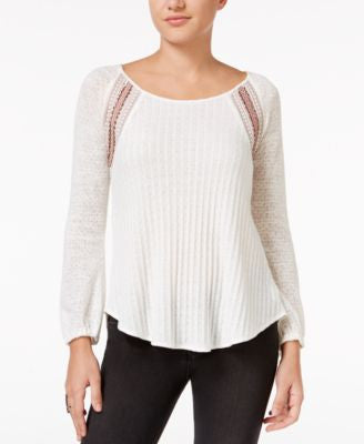 Miss Me Mixed-Stitch Embroidered Peplum Sweater