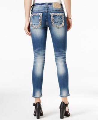 Miss Me Meduim Blue Wash Embroidered Cropped Jeans