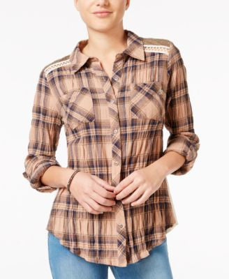 Miss Me Mixed-Media Plaid Shirt