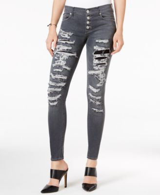 Hudson Jeans Ripped Button-Front Skinny Jeans, Dismantle Wash