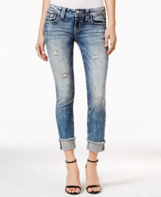 Miss Me Ripped Raw-Hem Medium Blue Wash Jeans