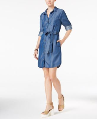 Velvet Heart Anita Tab-Sleeve Chambray Shirtdress