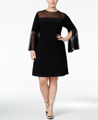 MSK Plus Size Bell-Sleeve Illusion Dress