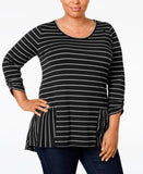 NY Collection Plus Size Peplum Striped High-Low Top