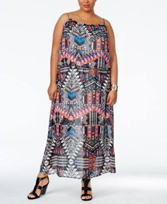 NY Collection Plus Size Printed Popover Maxi Dress