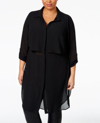 NY Collection Plus Size Sheer Chiffon Tunic Blouse