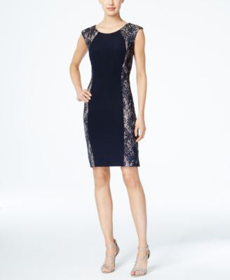 R & M Richards Sequined Lace Panel Dress