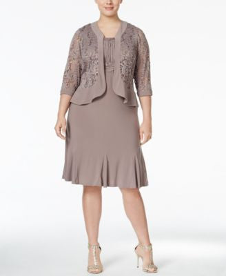 R & M Richards Plus Size Ruffled A-Line Dress and Metallic Lace Jacket