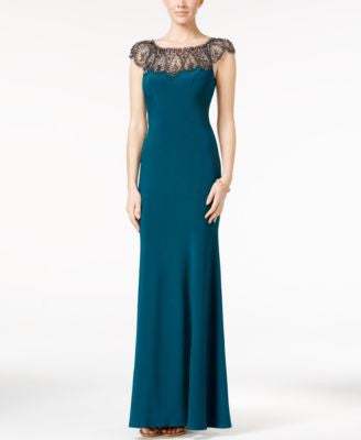 Xscape Petite Beaded Cap-Sleeve Gown