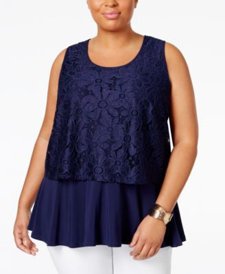 NY Collection Plus Size Layered-Look Lace Tank Top