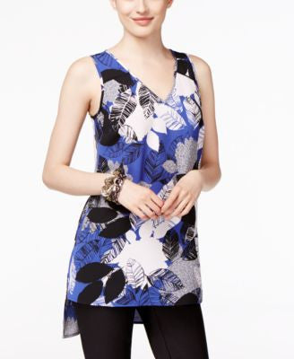 Alfani Petite Printed High-Low Swing Top, Only at Vogily