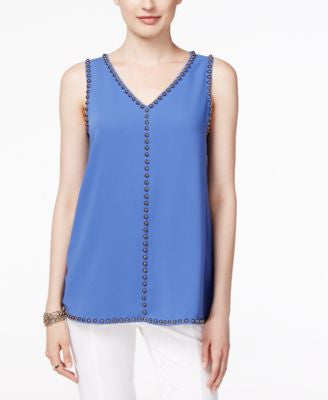 Alfani Petite Embellished Sleeveless Blouse, Only at Vogily
