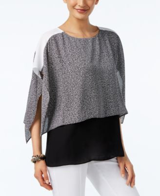Alfani Petite Layered-Look Colorblocked Blouse, Only at Vogily