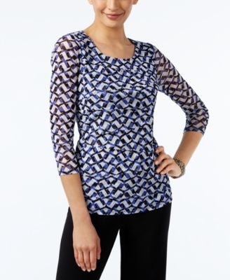 Alfani Petite Printed Tiered Top, Only at Vogily