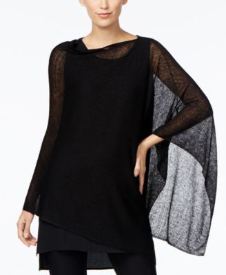 Eileen Fisher Sheer Boat-Neck Poncho