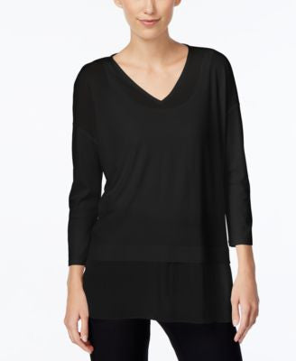 Eileen Fisher Silk Sheer-Hem Top