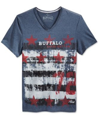 Buffalo David Bitton Men's American Flag Nelchim Graphic-Print V-Neck T-Shirt