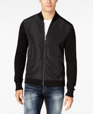 GUESS Men's Ercole Perforated Full-Zip Cardigan
