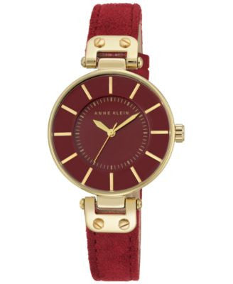 Anne Klein Women's Burgundy Suede Leather Strap Watch 34mm AK-2218GPBY