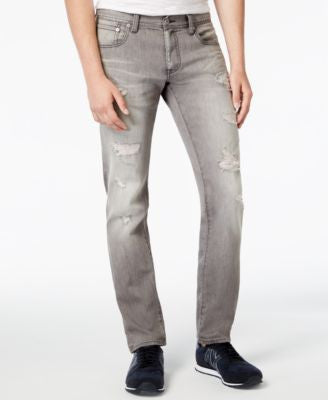 Armani Exchange Men's Gray Wash Distressed Slim-Fit Jeans