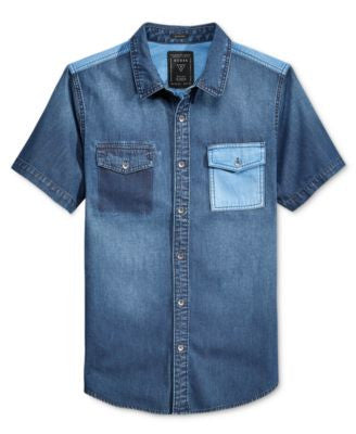 GUESS Men's Colorblocked Denim Short-Sleeve Shirt