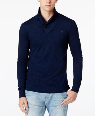 GStar Men's Ezra Indigo Shawl-Collar Long-Sleeve T-Shirt