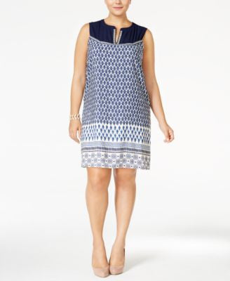 Monteau Trendy Plus Size Geo-Print Shift Dress