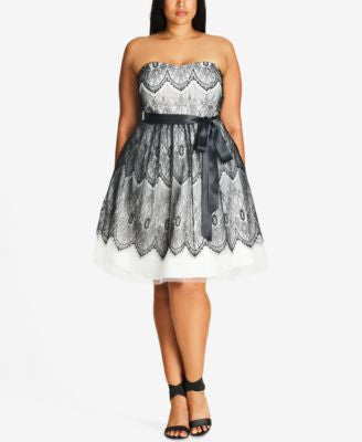 City Chic Plus Size Strapless Lace Fit & Flare Dress