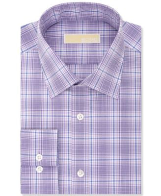 MICHAEL Michael Kors Men's Classic-Fit Non-Iron Purple Harmony Plaid Dress Shirt