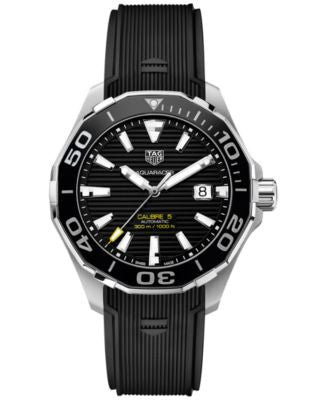 TAG Heuer Men's Swiss Automatic Aquaracer Calibre 5 Black Rubber Strap Watch 43mm WAY201A.FT6069