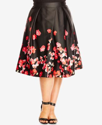 City Chic Plus Size Floral-Print Fit & Flare Skirt