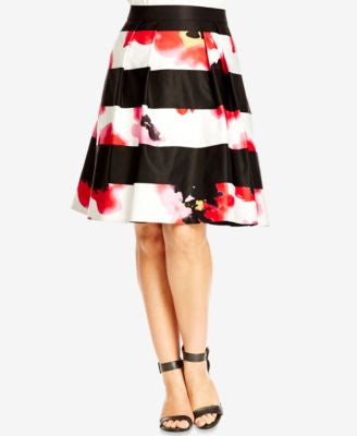 City Chic Plus Size Mixed-Print Fit & Flare Skirt