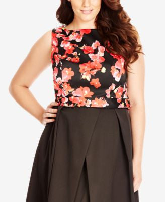City Chic Plus Size Floral-Print Crop Top