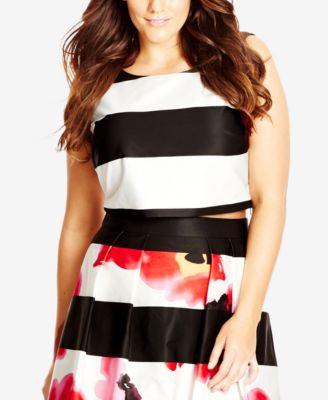 City Chic Plus Size Striped Crop Top