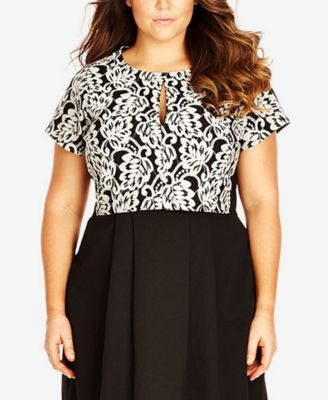City Chic Plus Size Printed Keyhole Crop Top